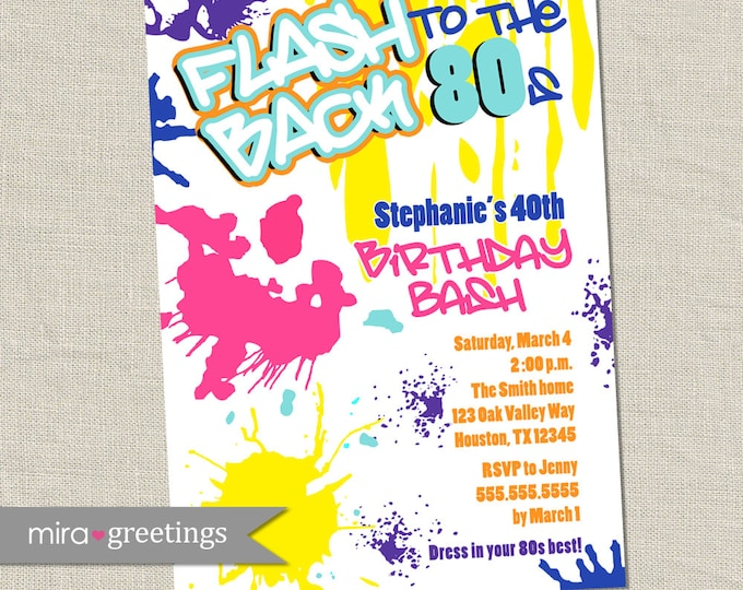 Graffiti Birthday Invitations - Neon Party Invitation - Retro 80s 90s invites - Glow Party Invites (Printable Digital File OR Printed Cards)