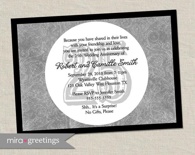 25th Anniversary Invitation - Printable Digital File