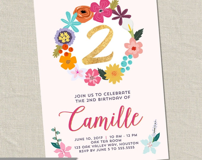 Flower Birthday Party Invitation - Printable Digital File
