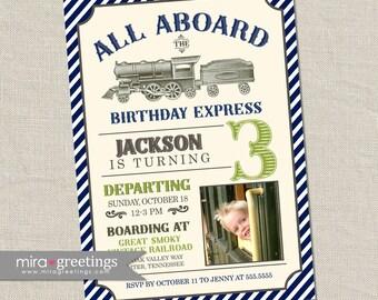 Vintage Train Birthday Party Invitation - All Aboard Train Invite Classic Train Photo Birthday blue and green train (Printable Digital File)