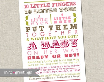 10 Little Fingers Pink and Brown Baby Shower Invitation - Printable Digital File