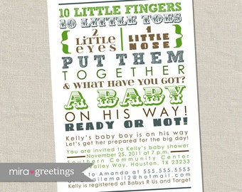 Green and Blue Baby Shower Invitation - brown subway art invite, poem, 10 little fingers, boy boyish (DIY Printable Digital File)