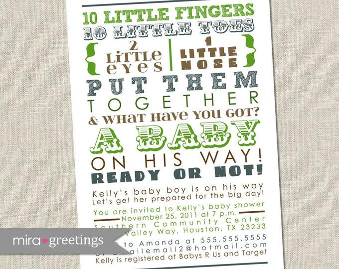 Green and Blue Baby Shower Invitation - brown subway art invite, poem, 10 little fingers, boy boyish (DIY Printable Digital File)