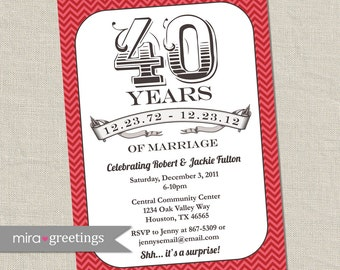 40th Anniversary Invitation -  Ruby Red Vintage Anniversary Party Invite - Fortieth (Printable Digital File)