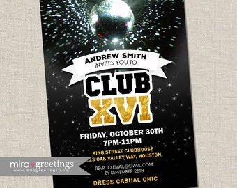 Disco Club Invite or Sweet 16 Birthday Party Invitation - gold foil teen disco ball invitation (DIY Printable Digital File)