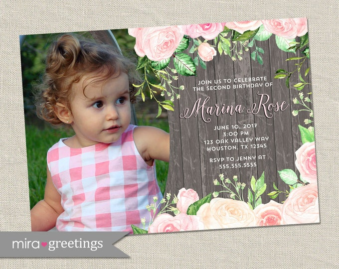 Rose Birthday Party Invitations - Floral Birthday Party -  Flower Roses Birthday Invites (Printable Digital F1ile OR Printed Cards)