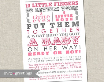 Pink Gray Shower Invitation - Baby Girl Pink and Grey words, girl, girly, subway art invite, poem 10 little fingers (Printable Digital File)