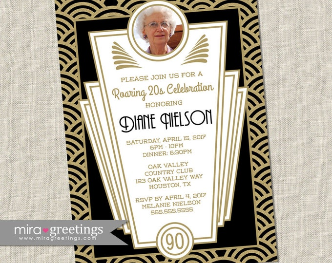 Retro 20s Birthday Party - Roaring 20s Birthday Invitations - Art Deco Birthday Party - Flashback (Printable Digital File OR Printed Cards)
