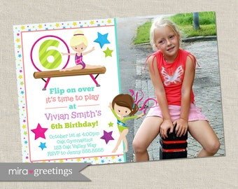 Gymnastics birthday party invitation - tumbling party - gymnastics invite - my gym party (Printable Digital File)