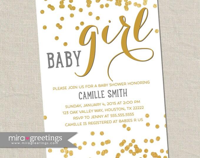 Gold metallic baby shower invitation - baby girl Invites - gold foil invitations -  (DIY Printable Digital File)