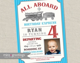 Vintage Train Birthday Party Invitation - All Aboard Train Invite - Classic Train Photo Birthday blue and red train (Printable Digital File)