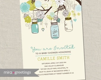 Mason Jar Baby Shower Invitation - Printable Digital File