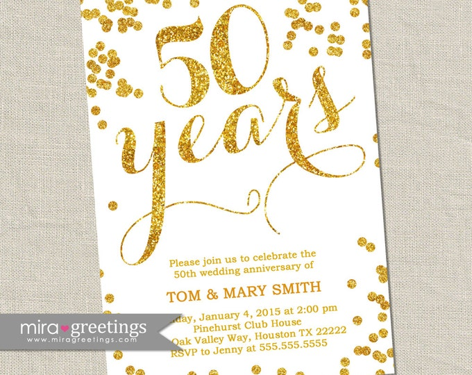 Gold Foil 50th Anniversary Invitation -  Printable Digital File