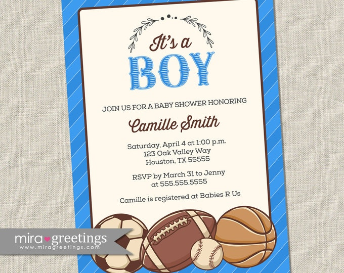 Vintage Sports Baby Shower Invitation - Baby Boy Shower Invite - soccer football baseball basketball cards (printable digital file)