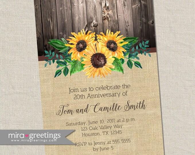 Sunflower Anniversary Invitation - Printable Digital File