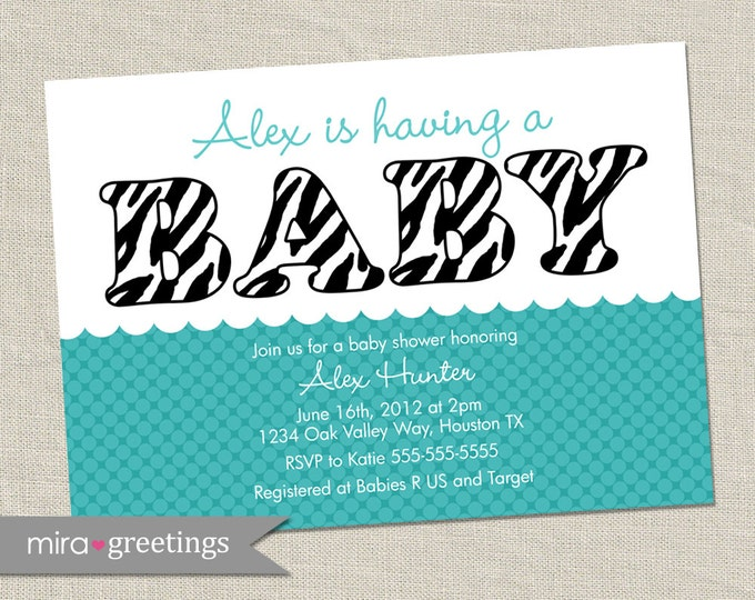 Zebra Teal Baby Shower Invitations - baby girl Invites - animal print blue baby shower (DIY Printable Digital File OR Printed Cards)