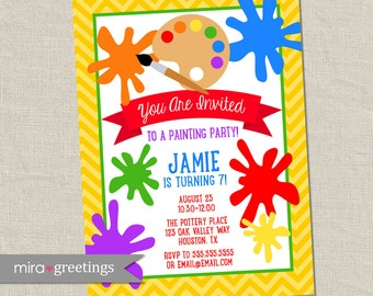 Painting Birthday Party Invitation - Printable Digital File