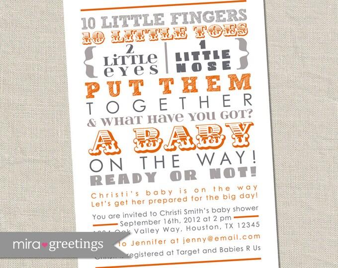 10 Little Fingers Orange and Gray Baby Shower Invitation - Printable Digital File