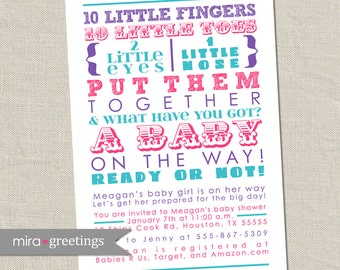 10 Little Fingers Pink and Purple Baby Shower Invitation - Printable Digital File