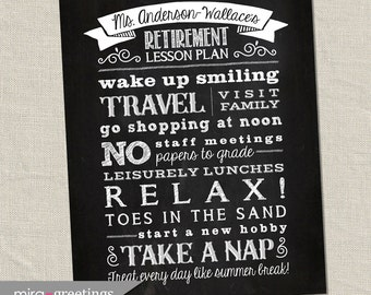 Retirement Art DIGITAL File - Chalkboard Art - subway art - teacher retirement gift - teacher gift - retirement art - Printable Digital File