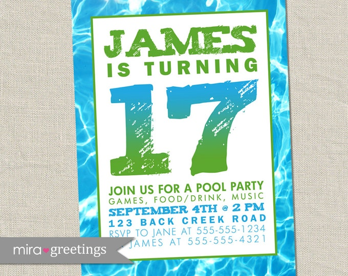 Pool Party Birthday Party / Graduation Party Invitation - swim party invite - swimming (Printable Digital File)