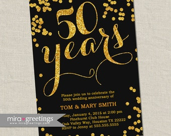 Gold Foil 50th Anniversary Invitation -  Gold Golden Sparkle Vintage Anniversary Party Invite - Fiftieth (Printable Digital File)