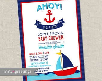 Ahoy It's a Boy Baby Shower Invitation - Nautical Boy Shower Invite - ocean boat anchor shower (Printable Digital File)