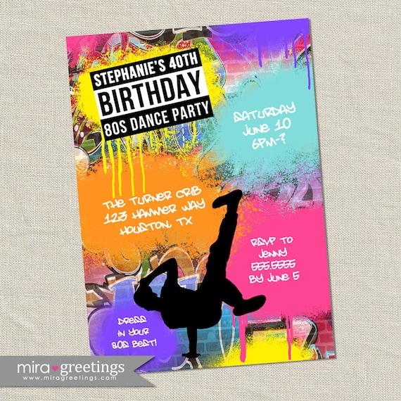 graffiti birthday invitations neon party invitation retro etsy