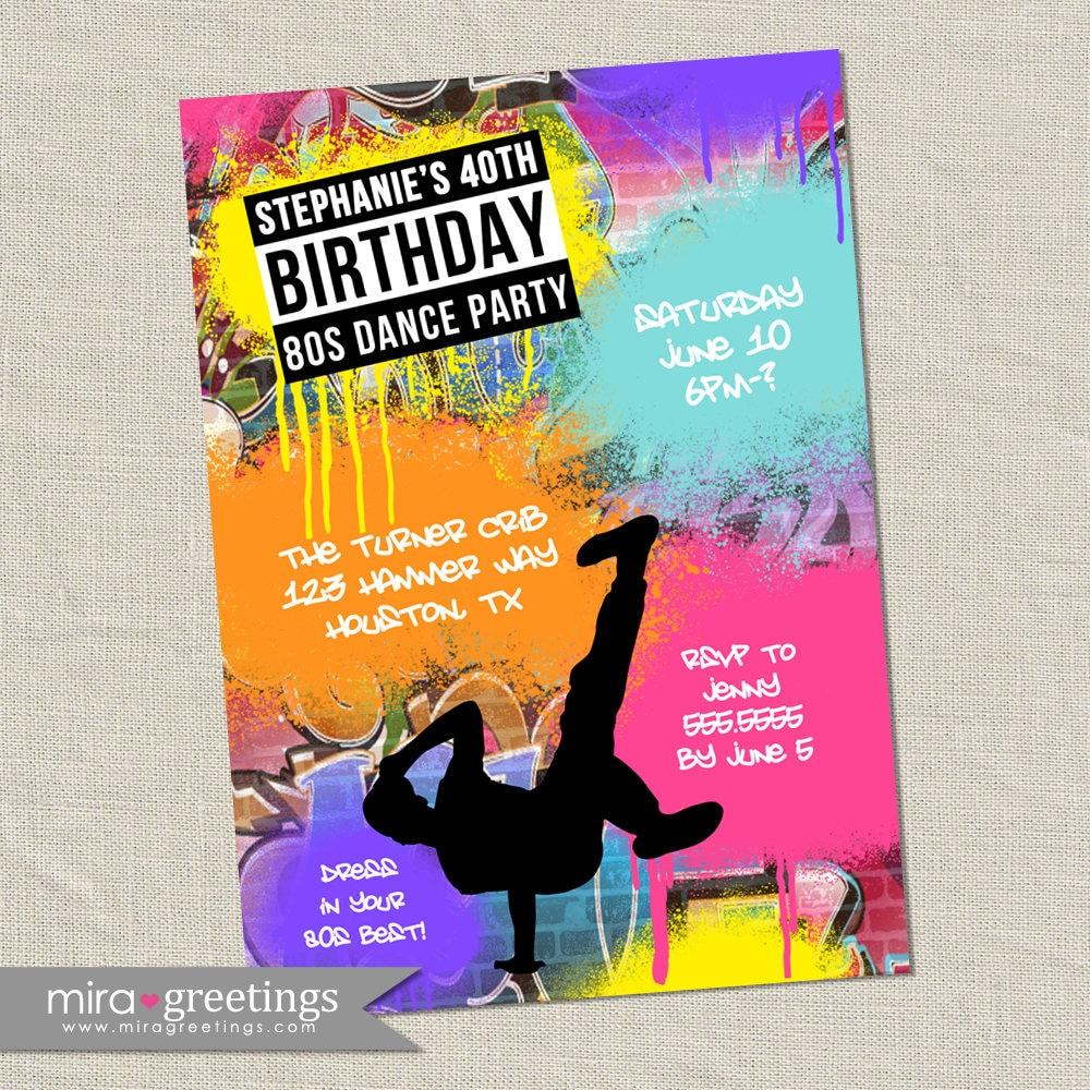 80s Party Invitation - Printable Digital File