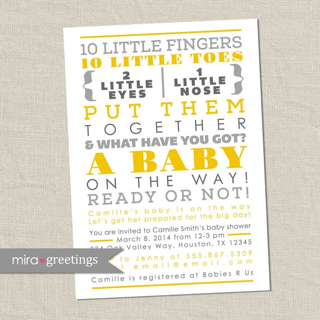 Gray and yellow baby shower invitation 10 little fingers etsy image 0 filmwisefo
