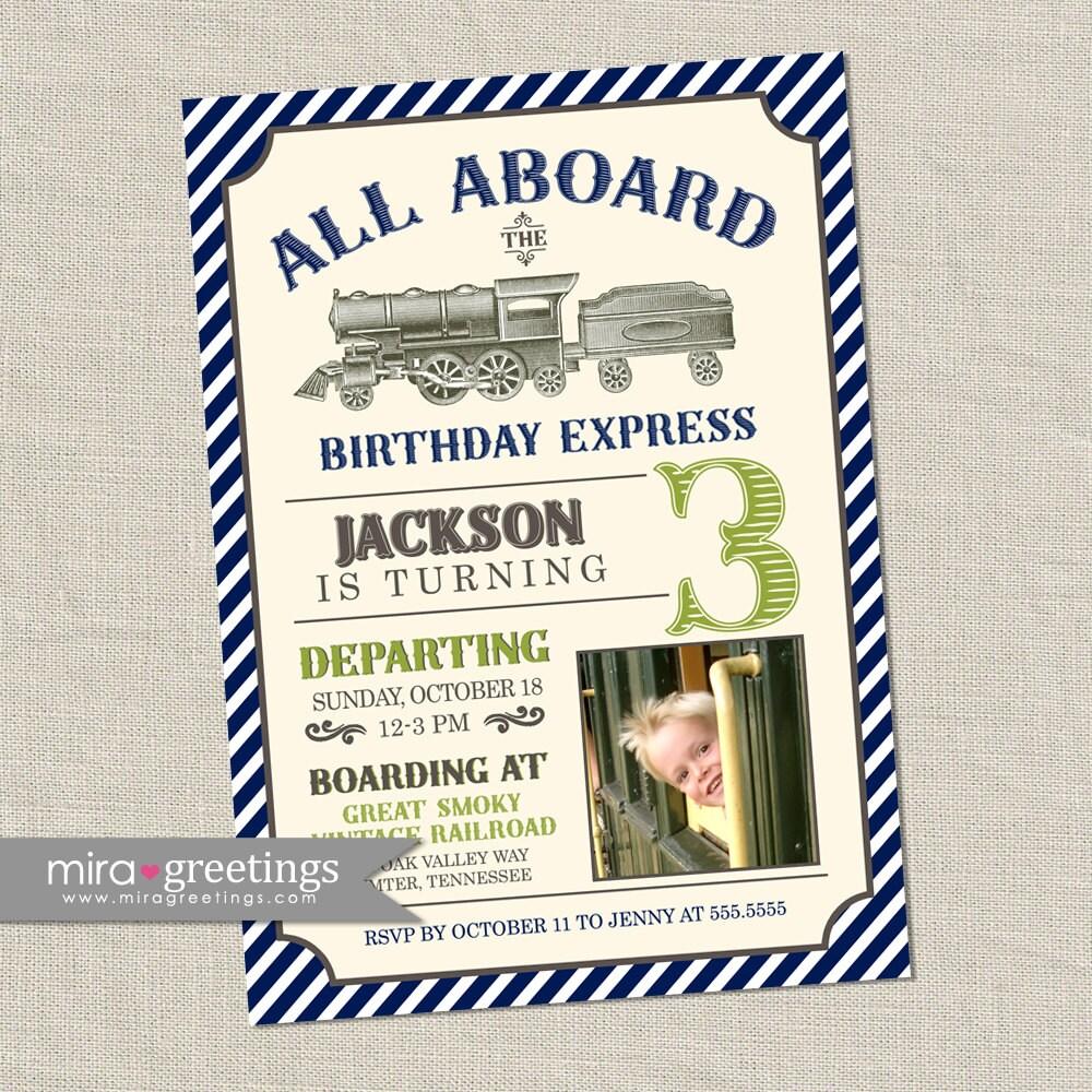 Vintage Train Birthday Party Invitation - All Aboard Train Invite ...