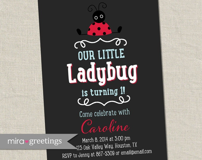 Ladybug Birthday Party Invitation - Printable Digital File