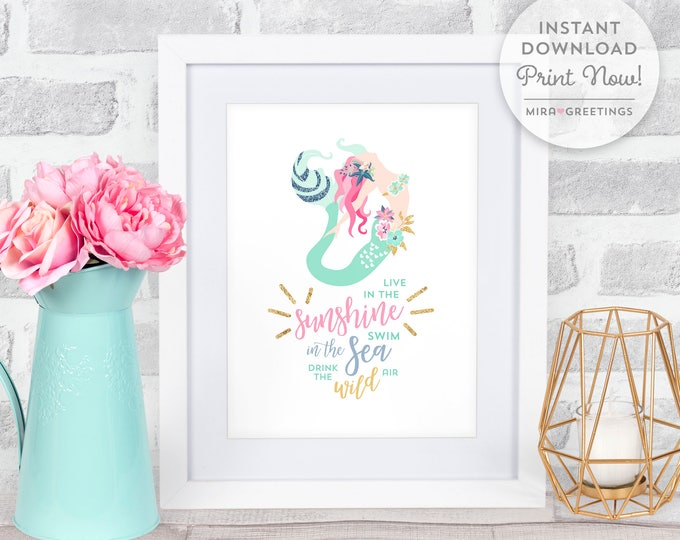 Mermaid art, mermaid quote, nursery art, child room poster, ralph waldo emerson live in the sunshine - instant download printable file