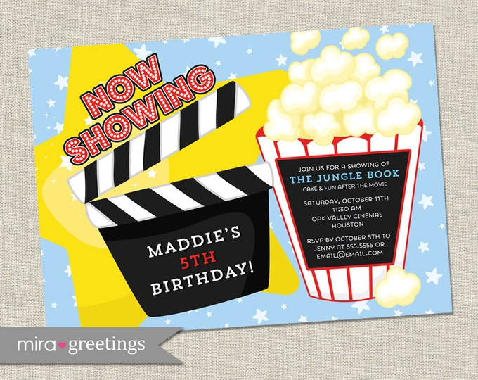 Movie Birthday Party Invitations - Printable Digital File