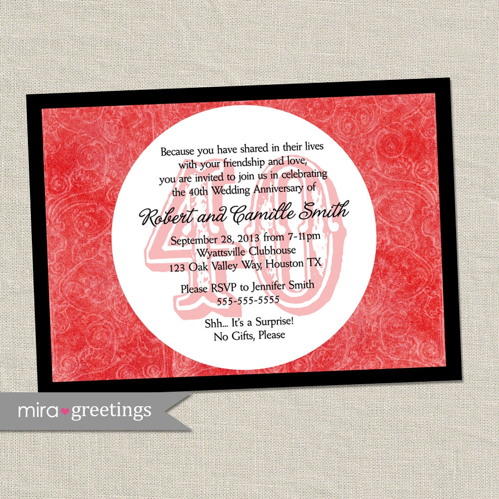 40th Anniversary Invitation Ruby Red Wedding Anniversary | Etsy