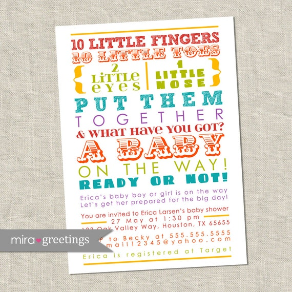 Rainbow baby shower invitation colorful words gender etsy image 0 filmwisefo