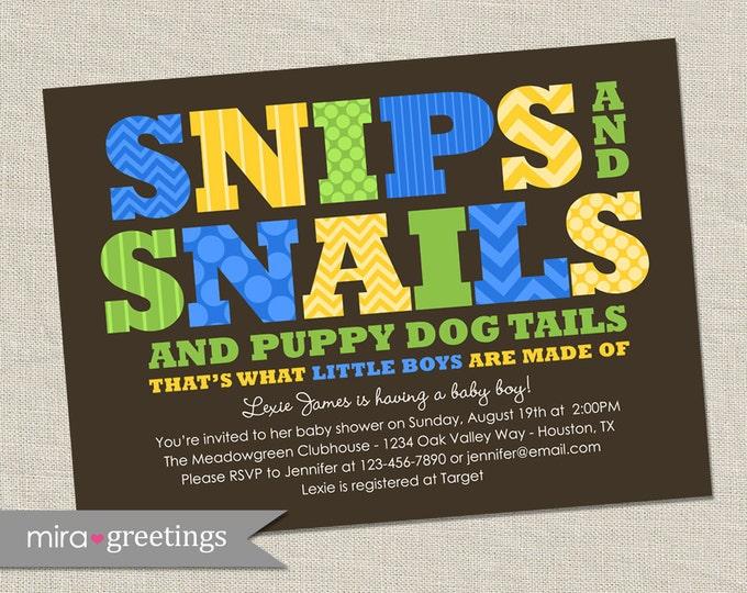 Snips and Snails Shower Invitation - Printable Digital File