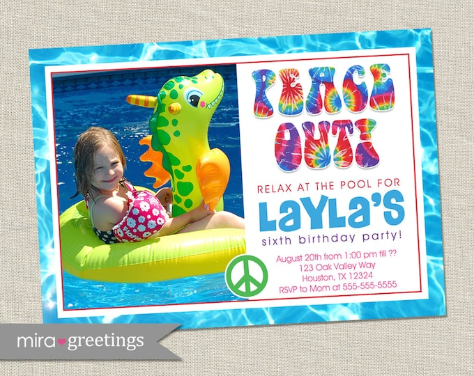 Hippie Pool Party Invitation - Printable Digital File