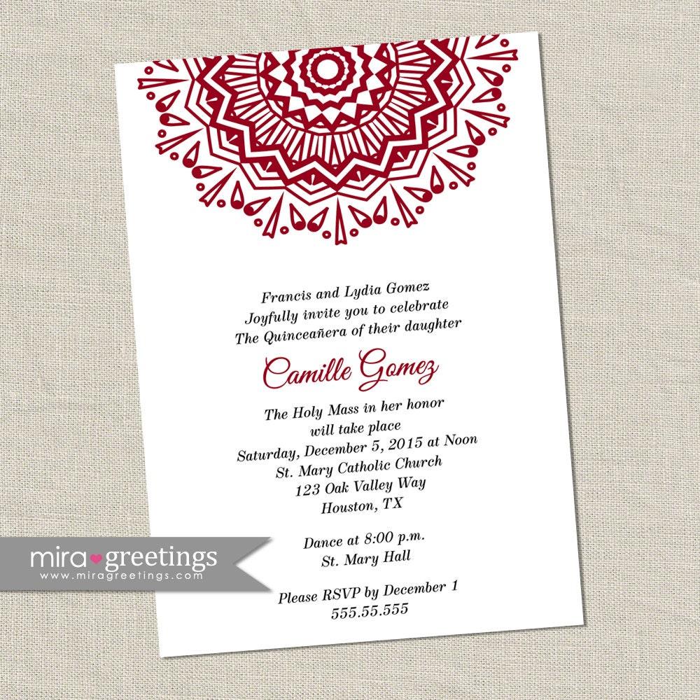 Quinceañera party invitation - 15th birthday party invite - fiesta ...