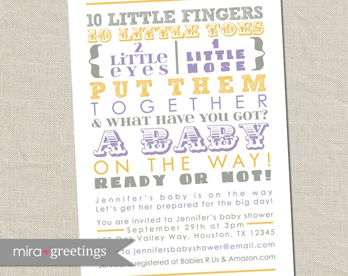 Purple Yellow and Gray Shower Invitation - words, gender neutral, grey yellow lilac, subway art, poem invite (Printable Digital File)