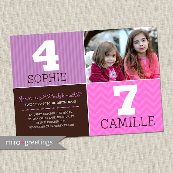 double birthday party invitation sisters joint party invite etsy