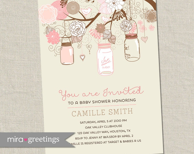 Mason Jar Baby Shower Invitation - Printable Digital File
