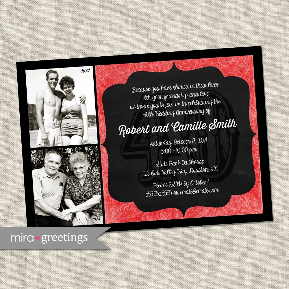 40th Anniversary Invitation - Ruby Red Wedding Anniversary Party ...