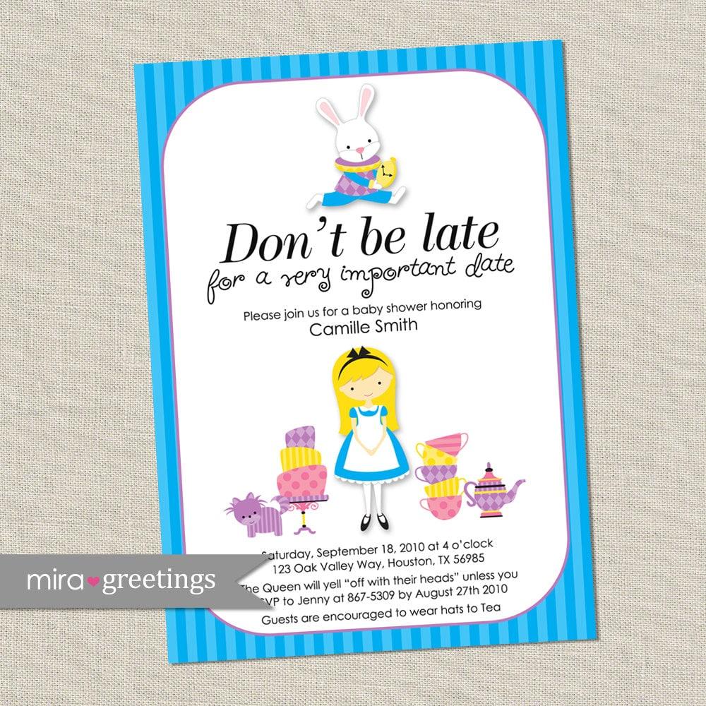 Alice in Wonderland Invitations Baby Shower / Bridal Shower | Etsy