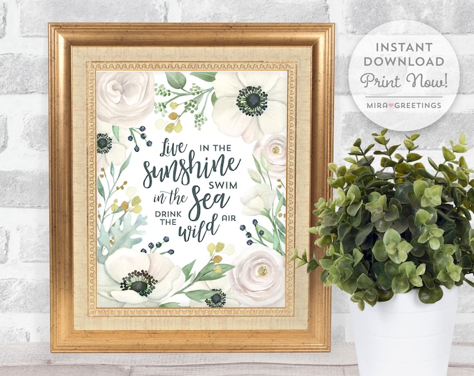 Wildflower art, Flower quote, flower art, white flowers printable, ralph waldo emerson live in the sunshine  instant download printable file
