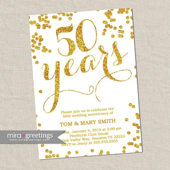 Gold Foil 50th Anniversary Invitation Gold Golden Sparkle Etsy