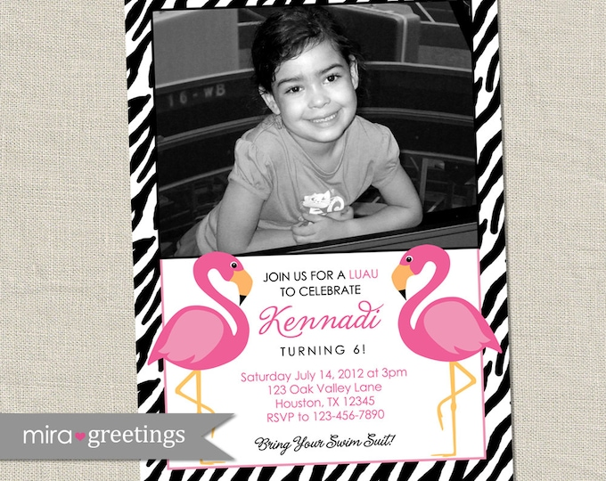 Zebra flamingo birthday party invitation - Printable Digital File