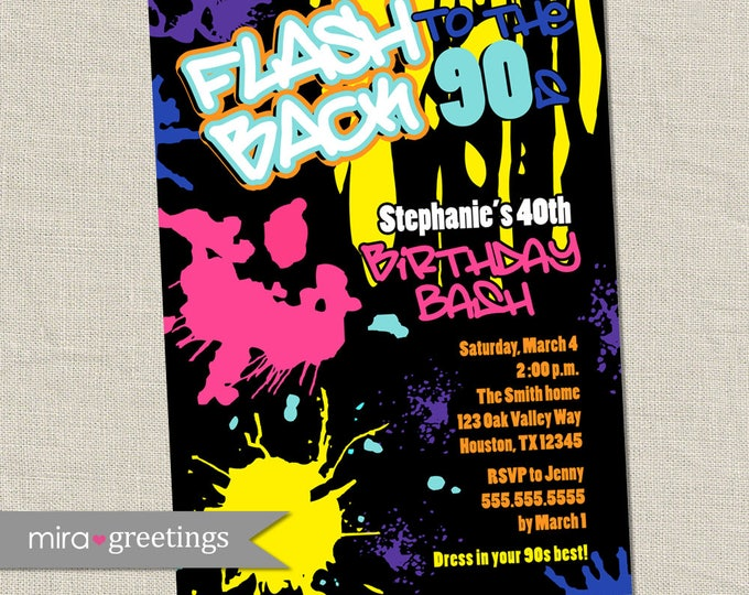 Graffiti Birthday Invitations - Neon Party Invitation - Retro 80s 90s invites (Printable Digital File OR Printed Cards)