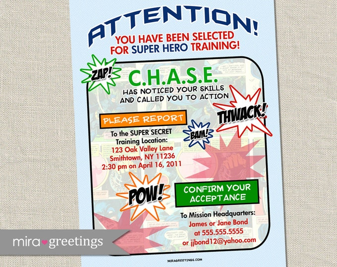 Superhero Birthday Party Invitation - super hero party invite - comic book (Printable Digital File)