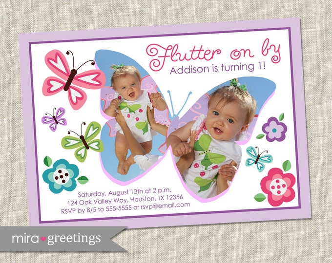 Butterfly Birthday Party Invitation with Flowers - butterfly girls party invite (Printable Digital File)